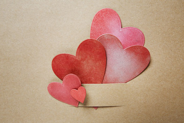 Hand-crafted paper hearts