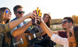 Portrait of group of friends toasting with bottles of beer. - 73174080