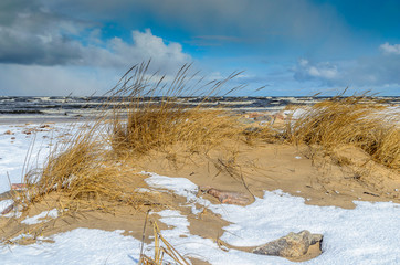 Winter coastline and stormy Baltic sea