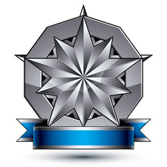 Heraldic vector template with polygonal silver star, dimensional