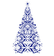 Christmas card with a Christmas tree. vector
