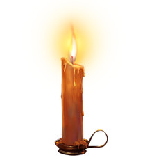 The illustration with burning candle on a white background.