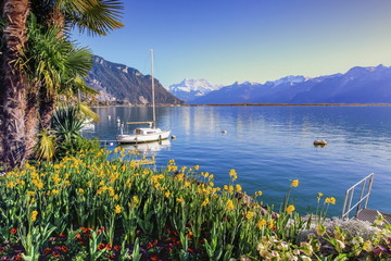 Geneva lake at Montreux, Vaud, Switzerland