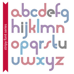 Round light lower case letters with triple lines, vector colorfu