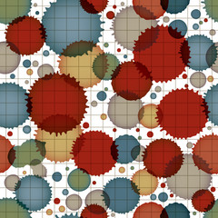 Vector ink splash seamless pattern with rounded overlap shapes a