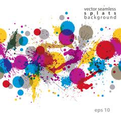 Colorful splattered web design repeat pattern, art ink blob, mul
