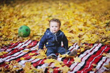 Kinky baby with blue eyes sitting on a background of autumn leav