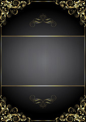 Black background with gold frame