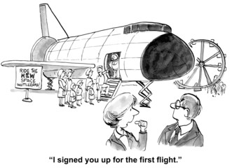 "Passenger Spaceship: ""I signed you up for the first..."""