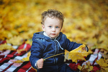 Kinky baby with blue eyes sitting with yellow leaves in hand on
