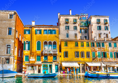 View of a typical canal at Venice Italy. HDR processed - 73176434