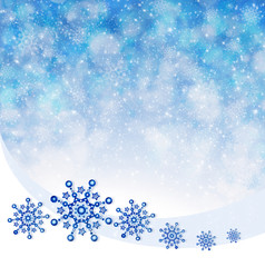 Christmas Snowflakes isolated on blue background.