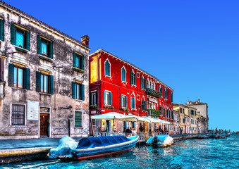 View of a typical canal at Venice Italy. HDR processed
