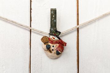 Christmas snowman clothespin