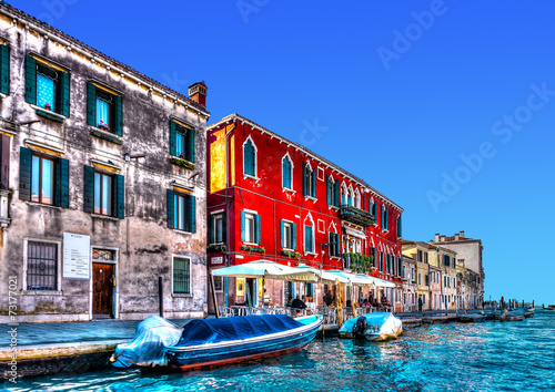 View of a typical canal at Venice Italy. HDR processed - 73177021