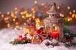 Leinwanddruck Bild - Weihnachten - Laterne und Geschenke
