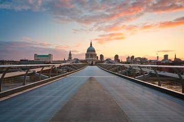 London's city skyline and the Millennium footbridge.