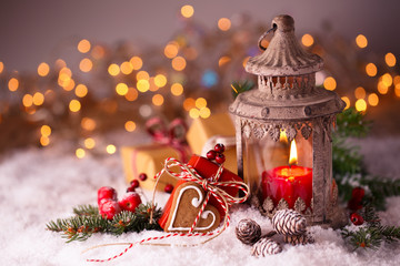 Weihnachten - Laterne und Geschenke