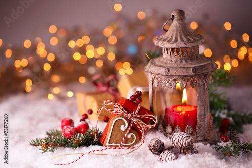 Leinwanddruck Bild Weihnachten - Laterne und Geschenke