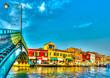 the Main Canal at Murano island near Venice Italy. HDR