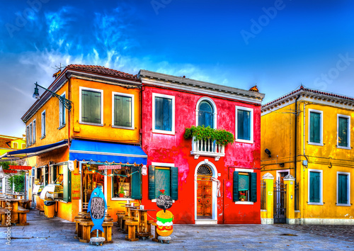 Keuken foto achterwand Venice colorful houses in a raw at Burano island near Venice Italy. HDR
