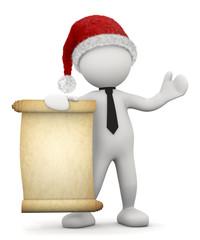 omino bianco natalizio con pergamena srotolata