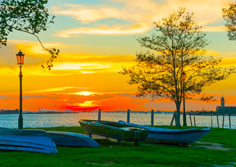sea view during sunset from Burano island near Venice Italy