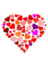 Bunte Herzen in Herzform