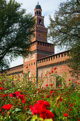 Italy Milan sforzesco castle ancient walls, towers and gate side