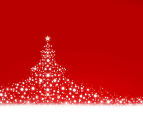 White Christmas tree on red background.