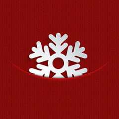 Vector modern snowflakes on red  knitted
