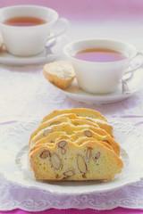 Gluten free almond biscotti with tea