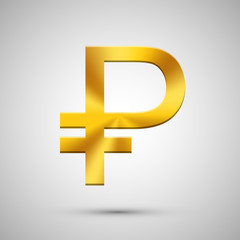 Vector modern gold ruble icon on gray background