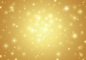 Gold Background With Stars - Holiday Pattern