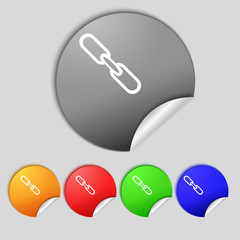 Link sign icon. Hyperlink chain symbol. Set colourful buttons.