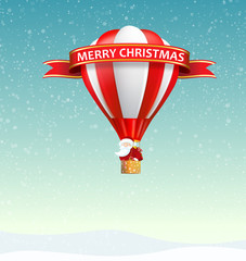 Merry Christmas from Santa Claus travelling with hot air balloon
