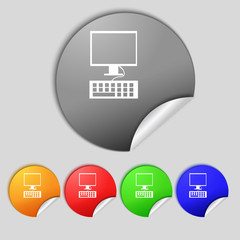 Computer monitor and keyboard Icon. Set colourful buttons.