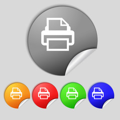 Print sign icon. Printing symbol. Set colourful buttons.