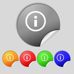 Information sign icon. Info speech bubble symbol. Set colour