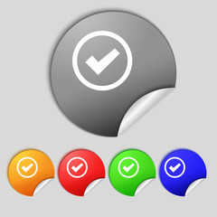 Check mark sign icon . Confirm approved symbol. Set colourful