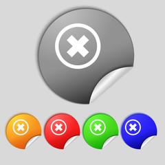 Cancel icon. no sign. Set colour button.