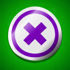 Cancel icon sign. Symbol chic colored sticky label on green