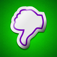 Dislike, Thumb down icon sign. Symbol chic colored sticky label