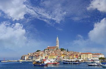 Panorama of Rovinj and its harbor. Istria, Croatia