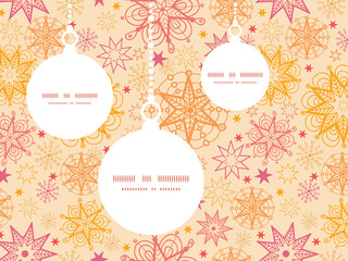 Vector warm stars Christmas ornaments silhouettes pattern frame