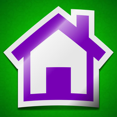 Home icon sign. Symbol chic colored sticky label on green