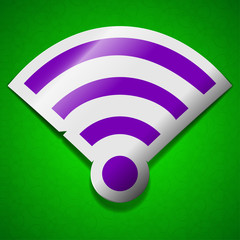 Wi-fi icon sign. Symbol chic colored sticky label on green