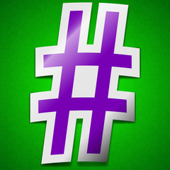 hash tag icon sign. Symbol chic colored sticky label on green