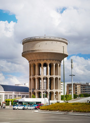 Water power tower, old architectural monument in business aria