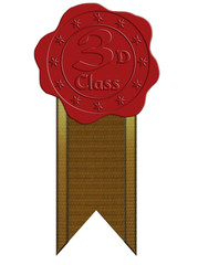 Third Class Red Wax Seal with Ribbon